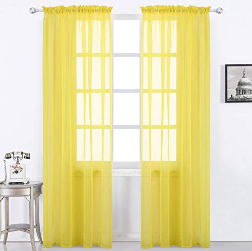 Selectex Solid Color Linen Look Semi-Sheer Curtains - Rod Pocket Voile Curtains for Living and Bedroom, Set of 2 Curtain Panels(54 x 63 Inch, Yellow)