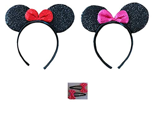 (Mickey/Minnie Mouse Style Ears Boys, Girls, Children, Adults, Halloween (2 Sparkling Black - 1 Pink Bow, 1 Red Bow, with Bow Tie Hair Clips))