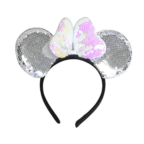 LUVE Mickey Minnie Ears Headband with Reversible Sequin Sparkle (Silver ear/Iridescent bow)