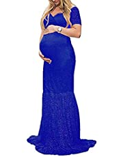 ZIUMUDY Womens Off Shoulder Short Sleeve V Neck Lace Maternity Gown Maxi Photography Dress