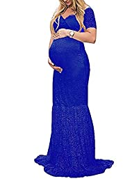 ZIUMUDY Womens Off Shoulder Short Sleeve Maternity Gown Maxi Photography Dress