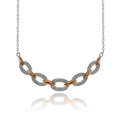 Rose Gold Flashed Sterling Silver Two-Tone Cubic Zirconia Oval Link Frontal Necklace