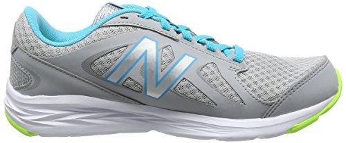 Nuovo Equilibrio Womens W490v4 Scarpa Da Corsa Visone Argento / Vivido Blu Ozono / Bagliore Calce