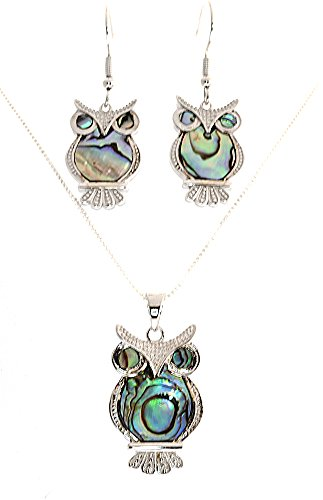 Heart Beats Sterling Silver Eurasian-Eagle-OWL Abalone Optional,Necklace, Earrings or Necklace/Earrings Set (Necklace Earrings Sets) ()