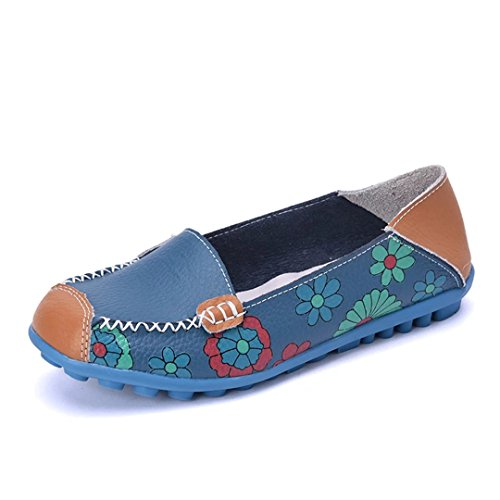 Joansam Women Bright Color Casual Flower Printed Slip On Leather Flat Pumps Shoes Blue 5b2zLo