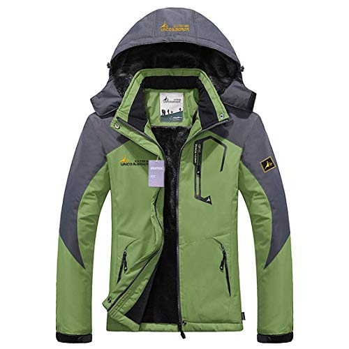 Alomoc Men's Winter Hiking Jacket Waterproof Softshell Snowboard Coats with Hood Moss Green ()