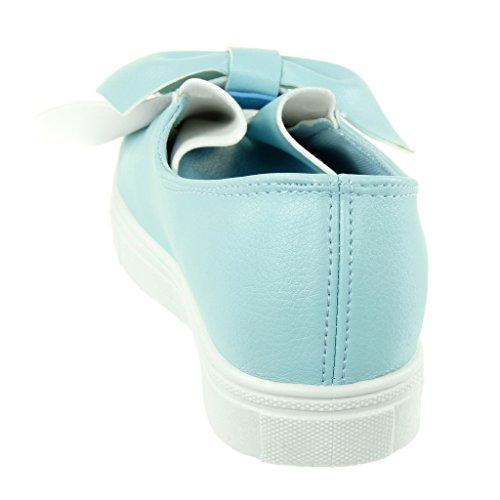 Angkorly Women's Fashion Shoes Trainers - Tennis - slip-on - knot - node - grained flat heel 2.5 CM Blue FAHIk