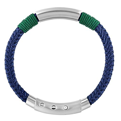 QLEESI Nautical Braided Rope Bracelet for Stylish Men and Women, Italian Nylon Cord String Wrist Cuff Bangle with Stainless Steel Adjustable Clasp Design FITS All, 6.88inches-7.68inches, Navy(Navy)