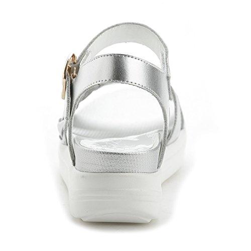 AllhqFashion Mujer Hebilla Material Mezclado Puntera Abierta Mini Tacón Sólido Sandalia Plateado
