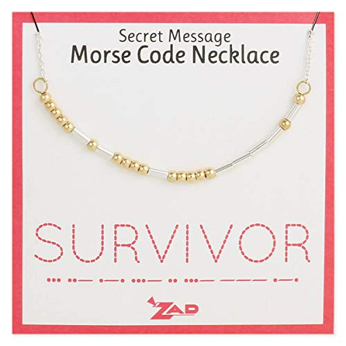 (Zen Styles Morse Code Inspirational Necklace 'Survivor', Silver and Gold Two-Tone Adjustable 16