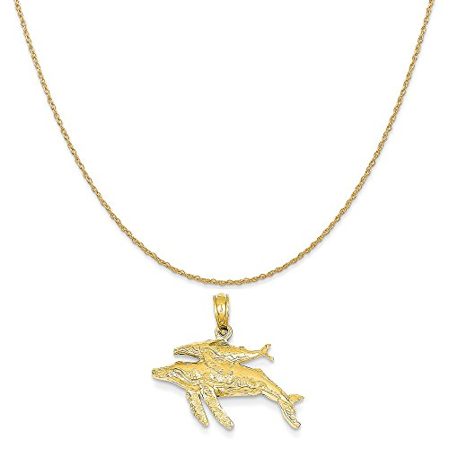 14k Yellow Gold Mother and Baby Humpback Whale Pendant on 14K Yellow Gold Rope Chain Necklace, 20