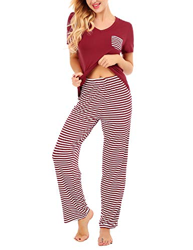 Dromild Women's Sleepwear Short Sleeve Tops and Loose Fit Pant Pajamas Set Red XXL