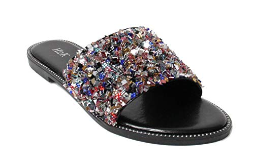 H2K Womens Glitter Bling Jewel Stone Fancy Slide Flat Low Wedge Sandals Shoes Dream (8 B(M) US, Multi)