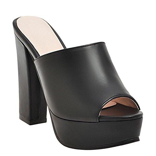 Mee Shoes Women's Charm Slip On Platform High Heel Sandals Black