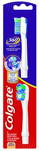 Colgate 360 Power Clean Battery Toothbrush Replacement Head, 2 Count