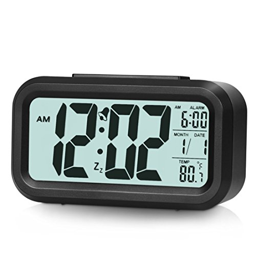 Alarm Clock, Bigear Digital Alarm Clock Large Display Travel Alarm Clock with Calendar Battery Operated for Home Office (Temperature Display, Snooze Function, Smart Backlight with Dimmer)