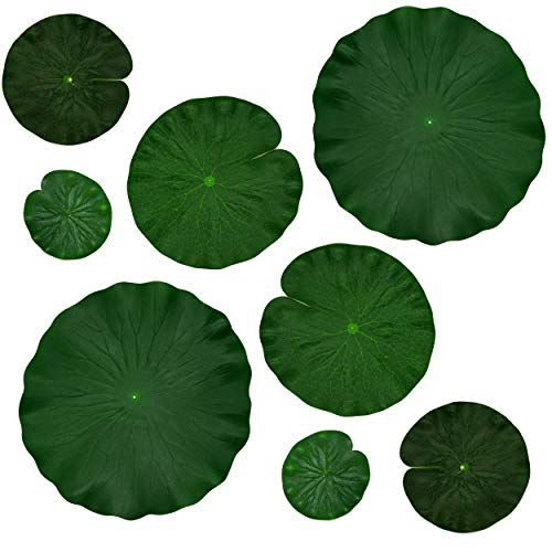 (IFAMIO Artificial Floating Foam Lotus Leaves Decor for Pond Aquarium and Stage Realistic Lotus Foliage Green Plant for Fish Pool Decoration Pack of 8, 4 Sizes (10, 15, 20, 28cm))