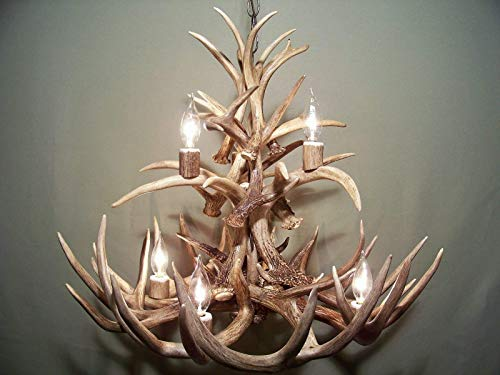 REAL WHITETAIL DEER ANTLER CHANDELIER, 7 LIGHTS, TWO TIERS SHED ANTLER ART, ELK COVERED SOCKETS HANDMADE 23