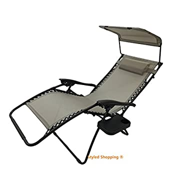 Deluxe Oversized Extra Large Zero Gravity Chair with Canopy + Tray - Metallica Gray
