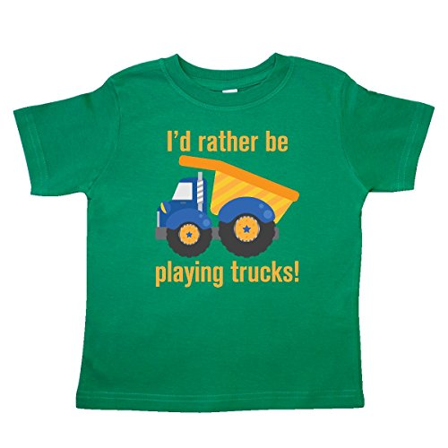 inktastic - Rather Be Playing Trucks Toddler T-Shirt 3T Kelly Green