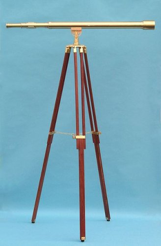 44-inch Clear Coated Solid Brass Harbormaster Telescope on a Mahogany Tripod with Standard Mount by Stanley London