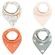 Pack of 4 Cotton Reversible Drool Baby Bibs,HNHC Soft for Boys & Girls (Fox+Spot+Cloud)