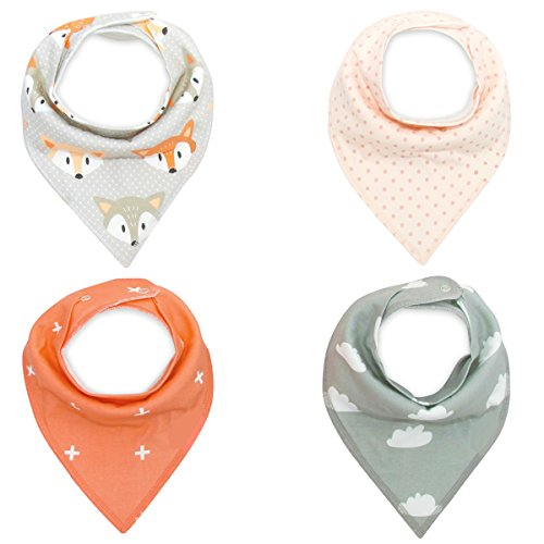 Pack of 4 Cotton Reversible Drool Baby Bibs,HNHC Soft for Boys & Girls - Shapes Triangular Face