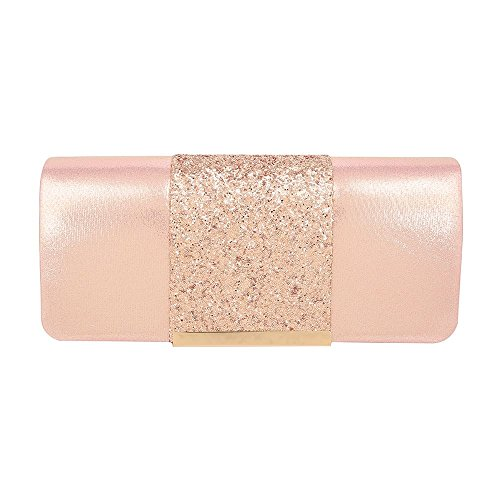 Prom Pink Bridal Shimmer Woman's Party Hotstylezone Clutch Evening Bag Sparkle Glitter Suede wPXIx7