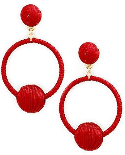 (Women's Threaded Ball Wrapped Hoop Pierced Earrings, Burgundy/Gold-Tone)