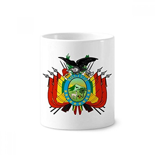 Bolivia National Emblem Country Toothbrush Pen Holder Mug White Ceramic Cup 12oz