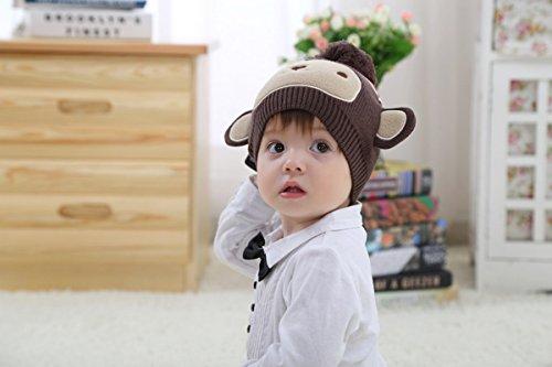 Marron Enfants Bébés Chapeau Beanie Toddlers Garçons Filles Crochet Mignon Knit Singe RCwTOq