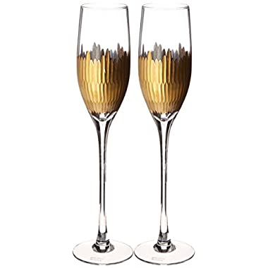 Lenox Marchesa Imperial Caviar Gold Champagne Flutes, Set of 2