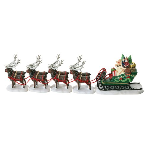 Department 56 North Pole Sleigh and Eight Tiny Reindeer
