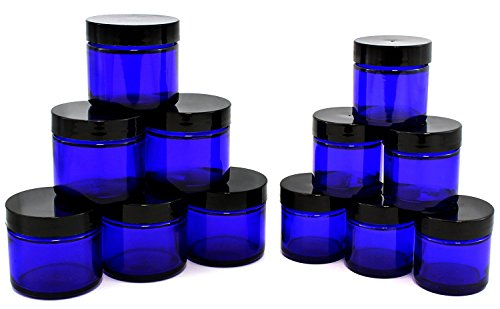 of Cobalt Blue 1oz & 2oz Glass Straight Sided Jars, Lids Included; Empty Refillable Containers for Cosmetics, Creams, Lotions, Essential Oils (6 of Each) ()