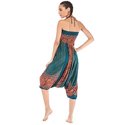 Harem Pants Women's Hippie Bohemian Yoga Pants One Size Aladdin Harem Hippie Pants Jumpsuit Smocked Waist 2 in 1 (Free, Green) by BingYELH Yoga (Image #4)