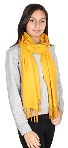 GILBIN'S Womens Solid Color Large Extra Soft Cashmere Blend Pashmina Shawl Wrap Scarf (Mustard) (Blend Cashmere Solid Color)