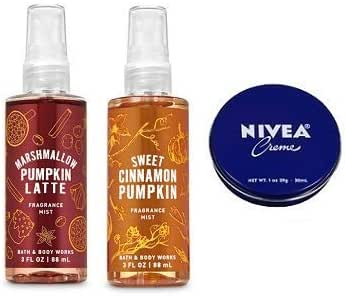 Bath and Body Works Pack Travel Size Fine Fragrance Mist 3 Oz. Marshmallow Pumpkin Latte and Sweet Cinnamon Pumpkin. Travel Size Creme 1 Oz.