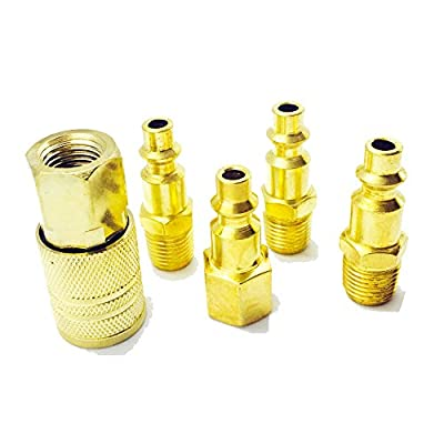 Air Coupler and Plug Kit,COOLOGIN 5-Piece 1/4-Inch Industrial Solid Brass Quick Coupler Set