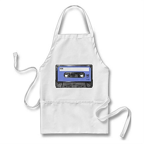 Houndstooth Label - Goodaily Blue And White Houndstooth Label Cassette Adult Apron for Men Women With Pockets, White
