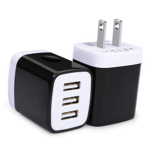 Phone Charger Cube, USB Wall Charger, Ououdee 3.1A 3-Muti Port USB Adapter Power Plug Charging Station Box Base Compatible iPhone X/8/7/6s/Plus, Samsung Galaxy S9/S8/S7, More Android Brick USB Plug