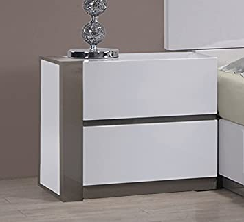 MILAN Valencia Gloss White Grey Left 2-Drawer Nightstand