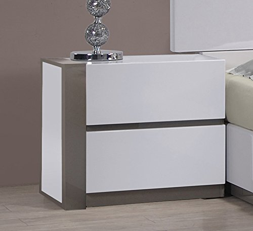 Milan Valencia Gloss White & Grey Left 2-Drawer Nightstand
