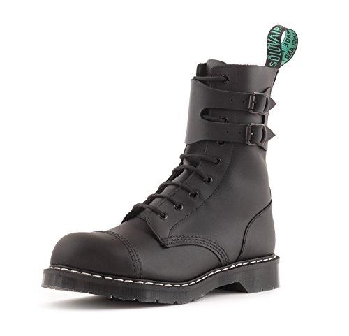 - Solovair 9 Eye Steel Toe Buckle Boot in Greasy Black Made in England