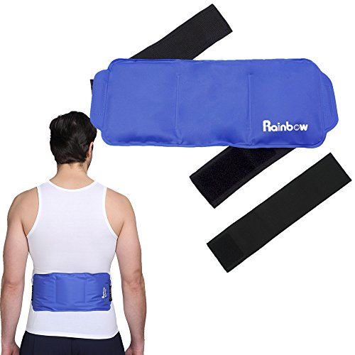 Ice Pack for Back Injuries, Soft & Flexible Reusable Gel Cold & Hot Therapy Pack with Strap Wrap for Waist Shoulder Knee Ankle Neck Elbow Arm Calves Hip Pain Relief