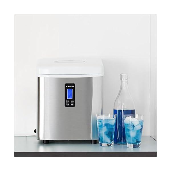 Klarstein Mr. Silver-Frost - Macchina per Cubetti di Ghiaccio, 15 kg/24 h, 150 Watt, 3 Dimensioni Cubetti, Preparazione… 2 spesavip