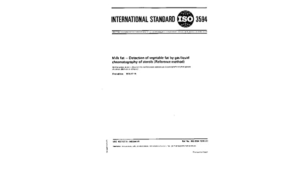 ISO 3594:1976, Milk fat -- Detection of vegetable fat by gas