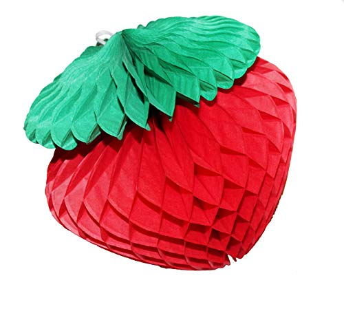 LG-Free 6pcs 10inch Art Honeycomb Strawberry Balls Tissue Paper Strawberry Decorations Paper Flower Balls Hanging Wall Decoration Party Wedding Birthday Baby Shower (10pcs -6'' Straw(10'' Strawberry)