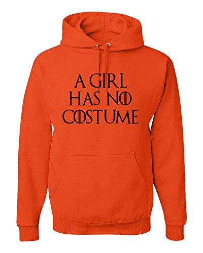 A Girl Has No Costume | Unisex Halloween Hooded Sweatshirt Graphic Hoodie, Orange, 3XL