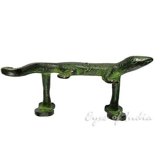 Eyes of India - 5'' Pair Green Brass Lizard Cabinet Pulls Door Handles Antique Bronze Indian Bohemian Boho