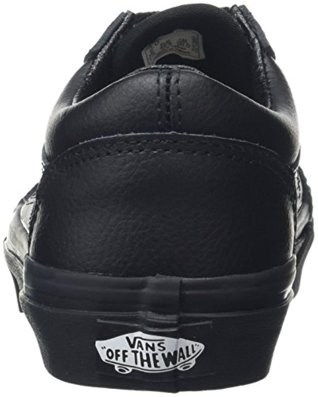 Vans Unisex Kids' Old Skool Low-Top Sneakers, Black (Leather Black/Black), 1 UK